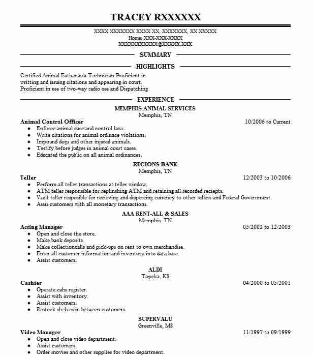 sample of a animal control resume