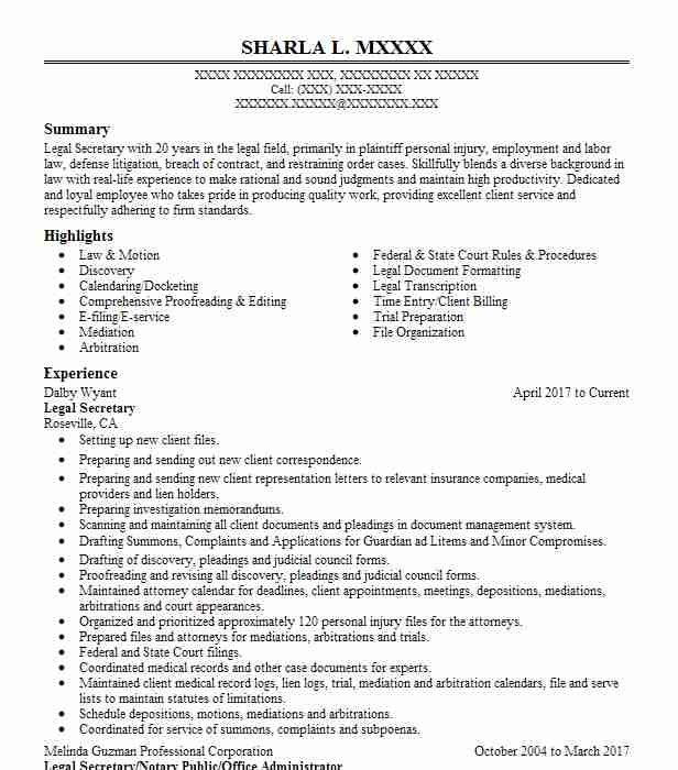 80528 Legal Resume Examples  Samples LiveCareer