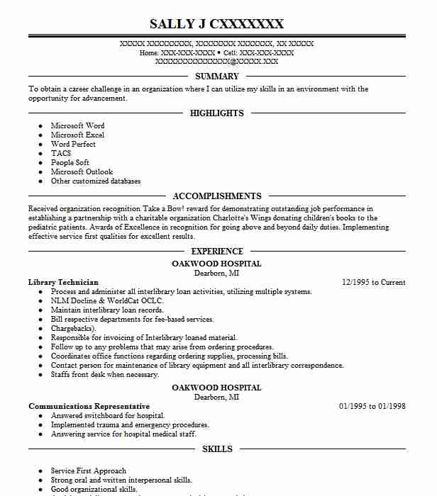 Library Technician Resume Sample Technician Resumes LiveCareer
