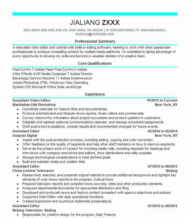 Assistant Video Editor Resume Sample Editor Resumes LiveCareer - assistant editor resume