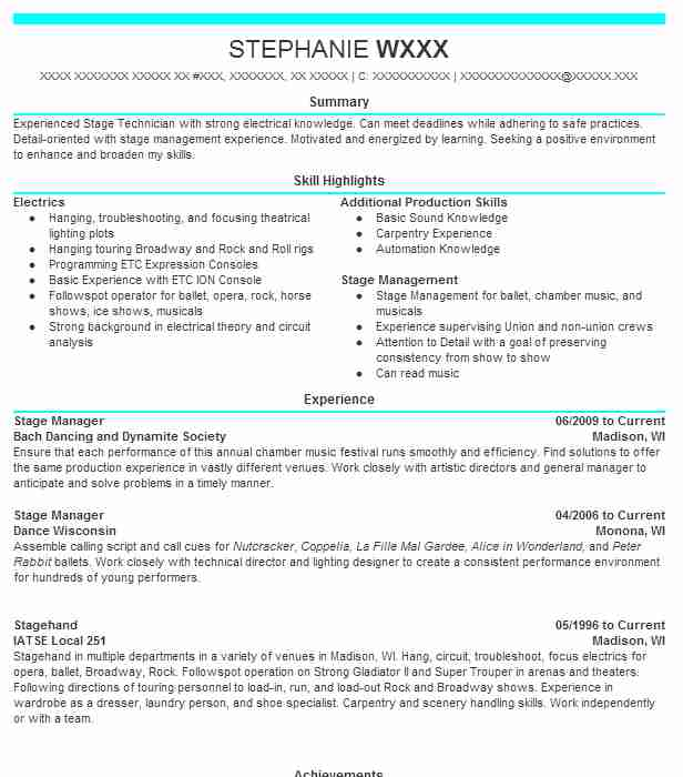 12 Stage Management Resume Examples in Wisconsin LiveCareer - Scenic Carpenter Sample Resume
