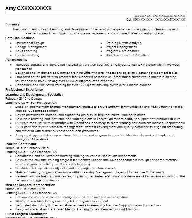 Learning And Development Specialist Resume Sample LiveCareer
