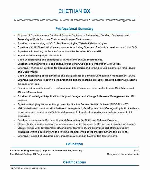 Build And Release Engineer Resume Sample LiveCareer