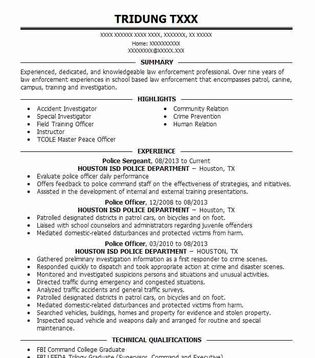65954 Police Officers Resume Examples Law Enforcement And Security - Police Sergeant Resume