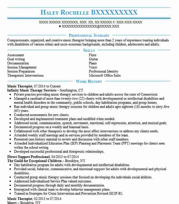Music Therapist Resume Sample Therapist Resumes LiveCareer