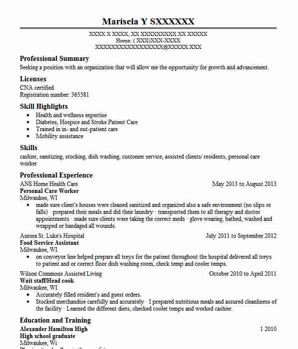 Personal Care Worker Resume Sample Worker Resumes LiveCareer
