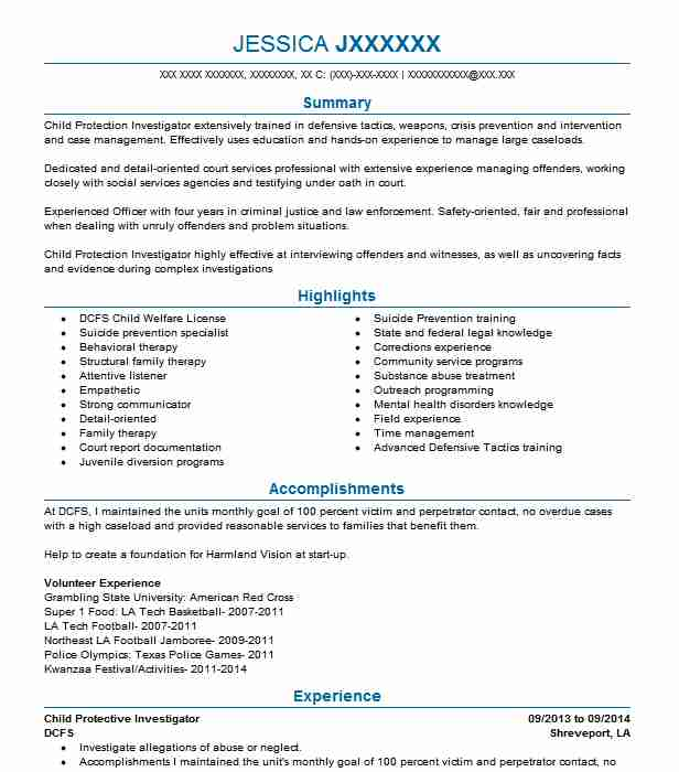 Child Protective Investigator Resume Sample LiveCareer