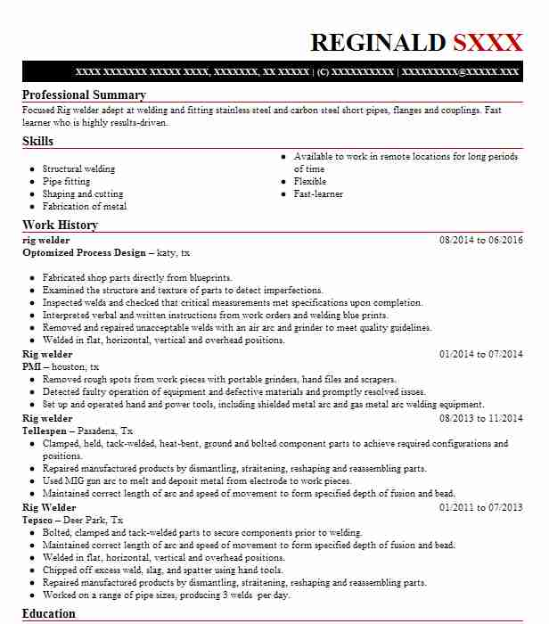 Rig Welder Resume Sample Welder Resumes LiveCareer