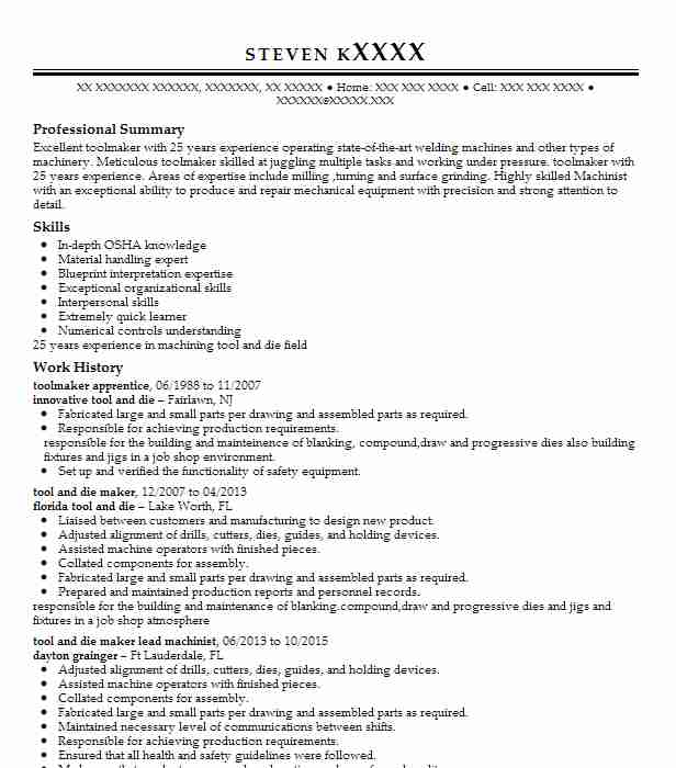 20 Tool And Die Makers Resume Examples in New Jersey LiveCareer
