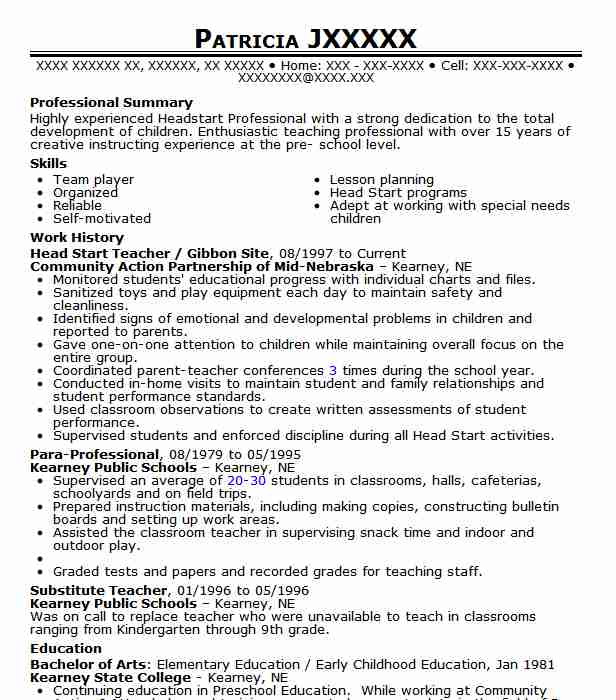 6 Early Childhood Development Resume Examples Community And Public