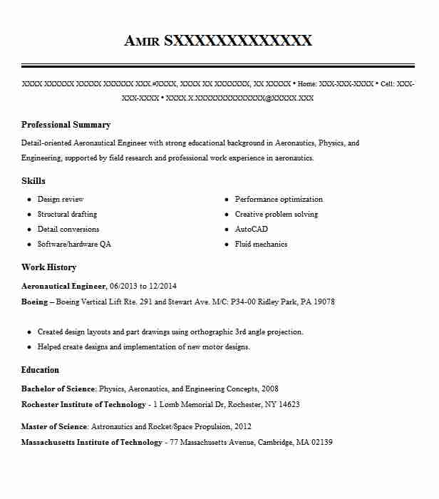 Aeronautical Engineer Resume Sample Engineering Resumes ...