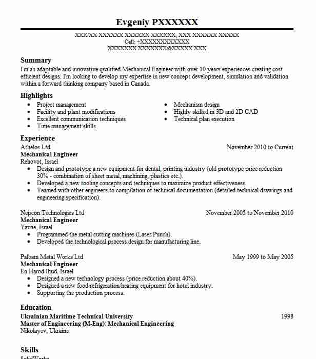 Mechanical Engineer Objectives Resume Objective LiveCareer