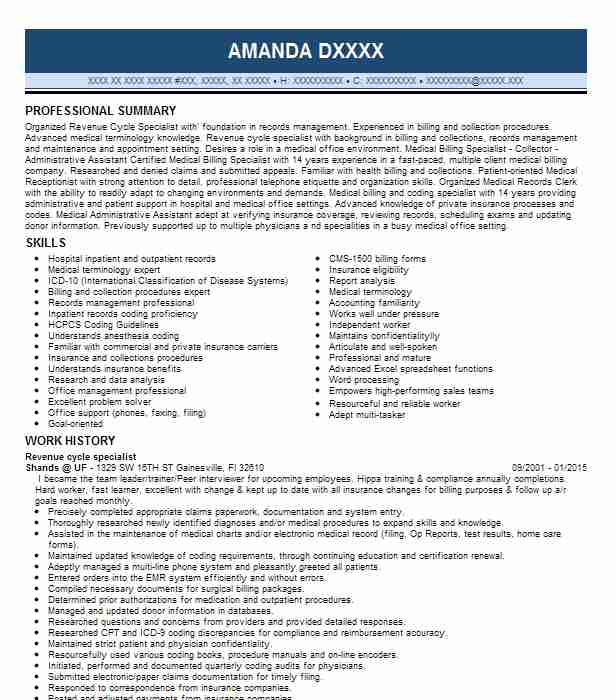 Revenue Cycle Specialist Resume Sample LiveCareer