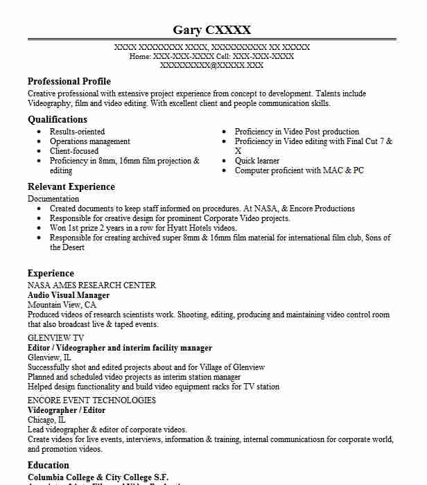 Audio Visual Manager Resume Sample Manager Resumes LiveCareer