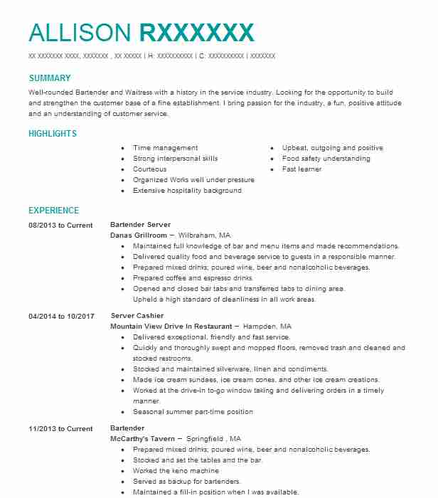 Bartender Server Resume Sample Server Resumes LiveCareer