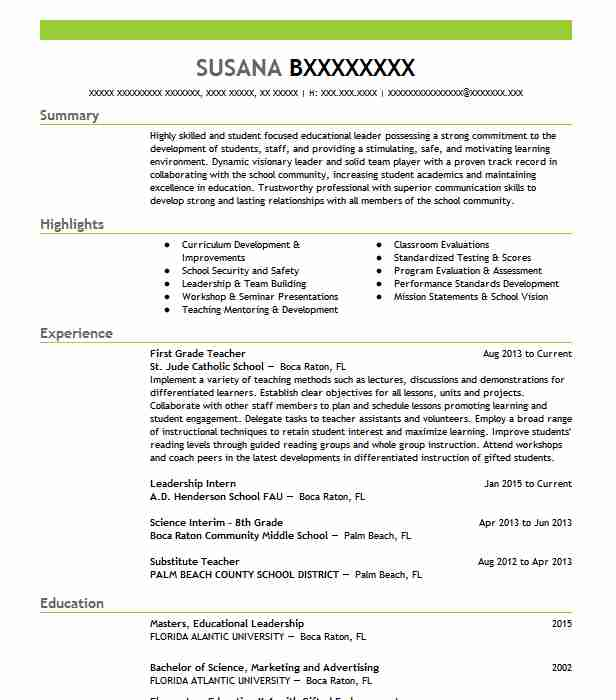 First Grade Teacher Resume Sample Teacher Resumes LiveCareer