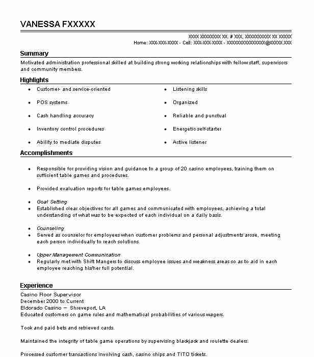 Casino Floor Supervisor Resume Sample LiveCareer - supervisor resume templates