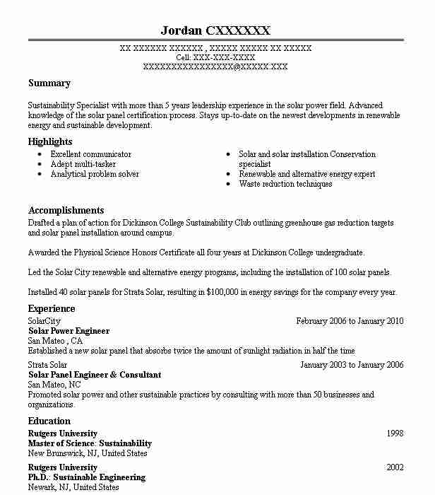 Solar Power Engineer Resume Sample Engineering Resumes LiveCareer - solar power engineer sample resume