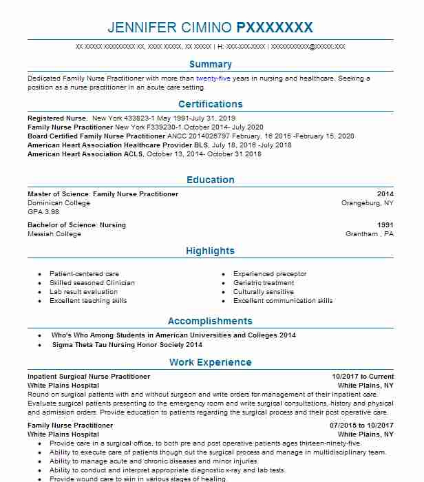 Find Resume Examples in West Nyack, NY LiveCareer