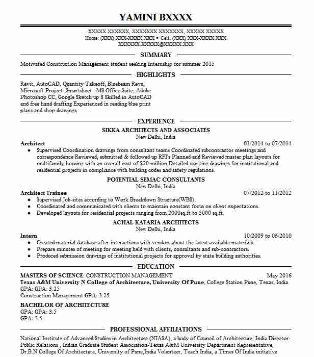 resume sample objective for architect