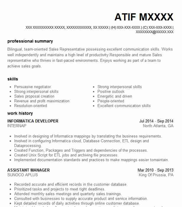 Informatica Developer Resume Sample Developer Resumes LiveCareer