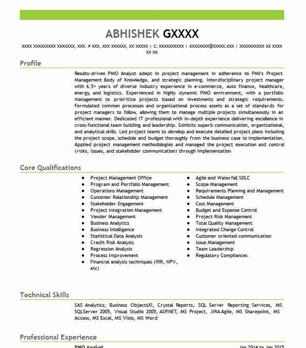 Pmo Analyst Resume Sample Management Resumes LiveCareer