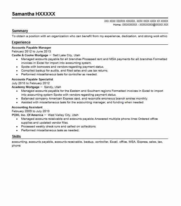 Accounts Payable Manager Resume Objectives Resume Sample LiveCareer