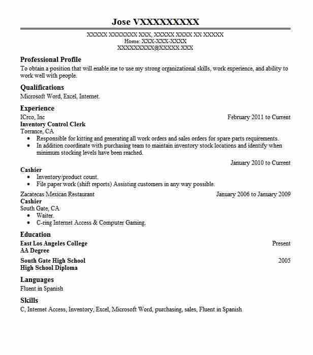 Inventory Control Clerk Resume Sample Clerk Resumes LiveCareer