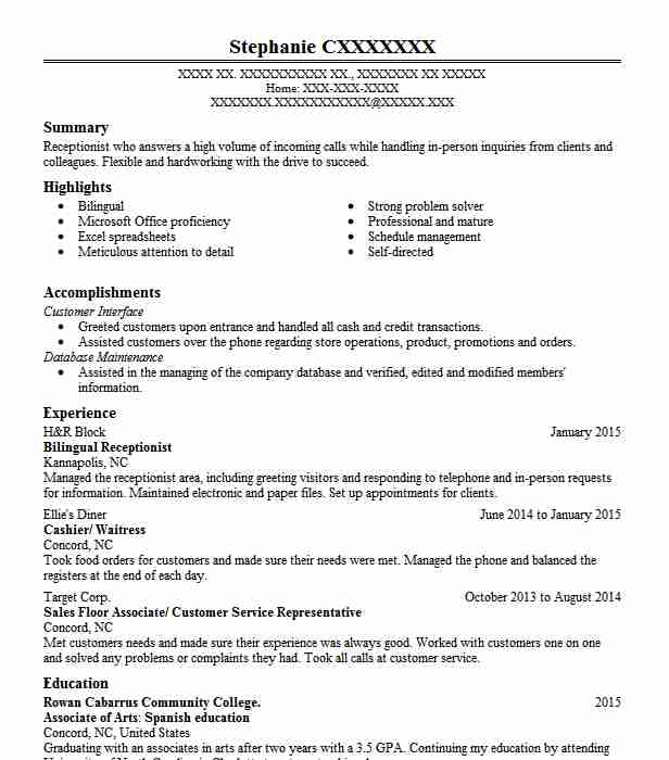 Bilingual Receptionist Resume Sample LiveCareer