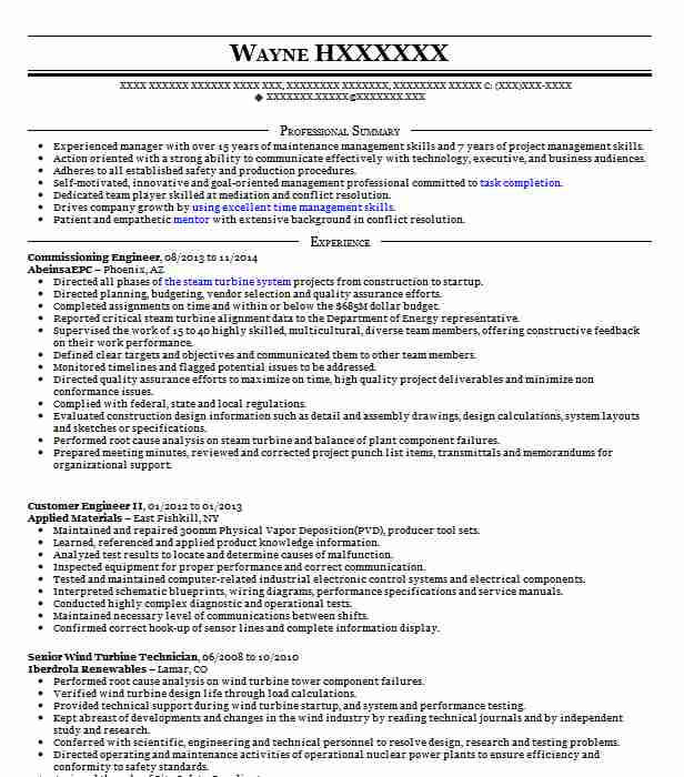 Commissioning Engineer Resume Sample Technical Resumes LiveCareer
