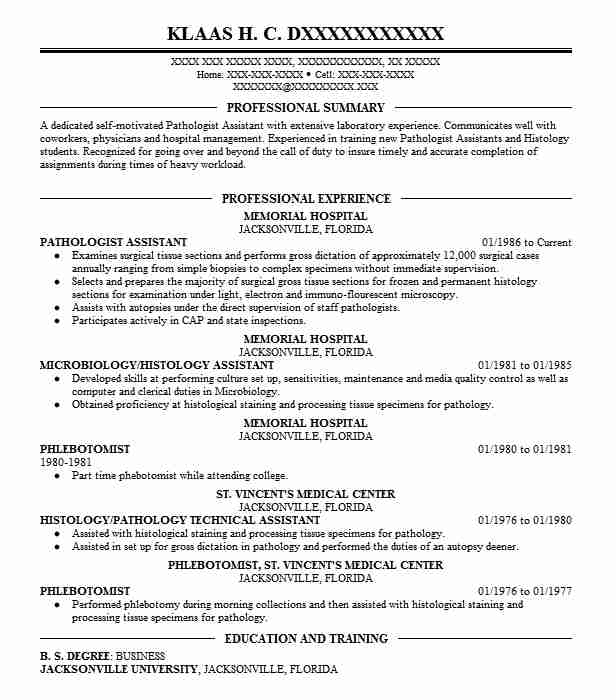 Pathologist Assistant Resume Sample Assistant Resumes LiveCareer - histology assistant sample resume