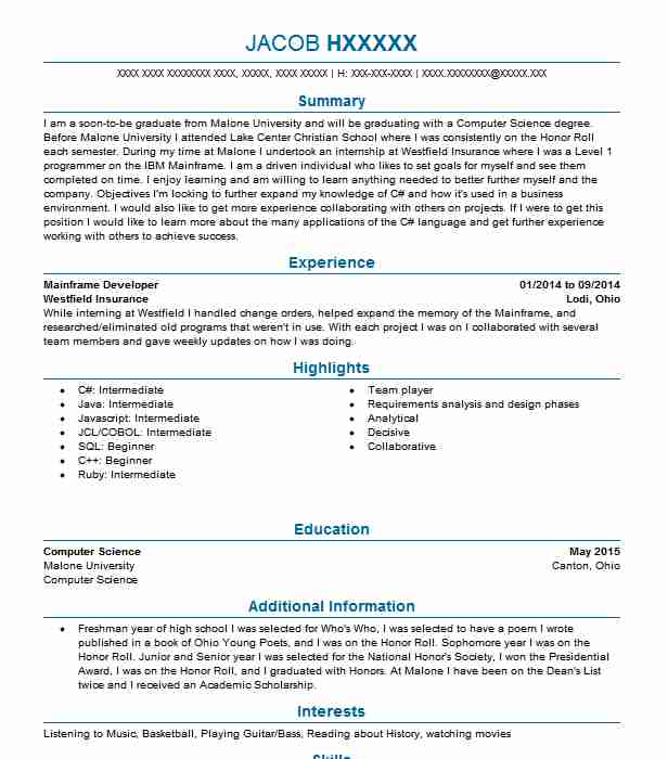 Mainframe Developer Resume Sample Developer Resumes LiveCareer