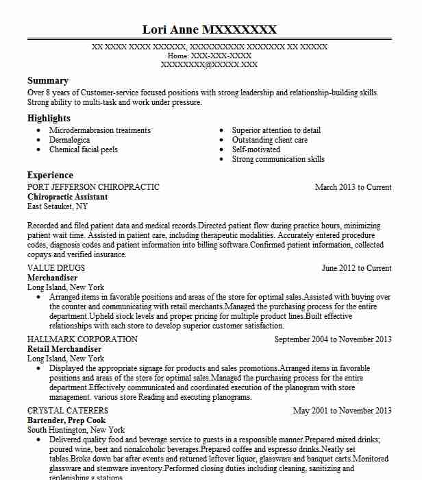 Chiropractic Assistant Resume Sample Assistant Resumes LiveCareer