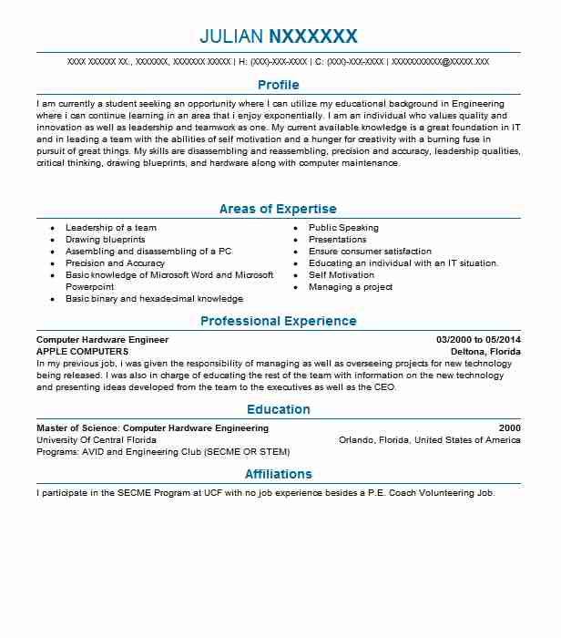 Computer Hardware Engineer Objectives Resume Objective LiveCareer