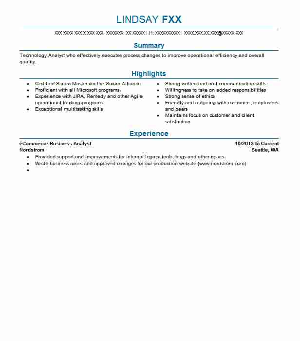 Ecommerce Business Analyst Resume Sample LiveCareer - ecommerce analyst sample resume