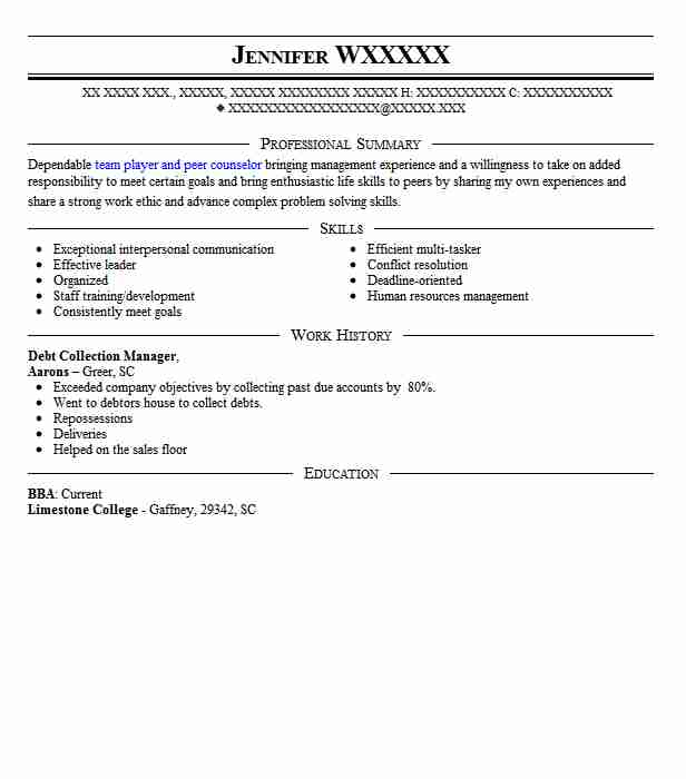 Debt Collection Manager Resume Sample Manager Resumes LiveCareer