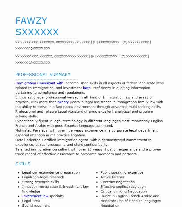 Immigration Lawyer Resume Sample Lawyer Resumes LiveCareer