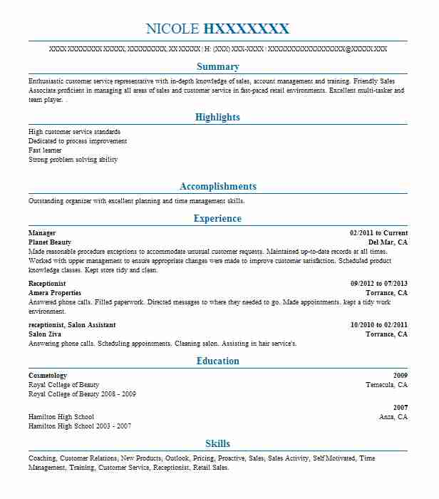 Salon Receptionist Resume Sample Administration Resumes LiveCareer - salon receptionist resume