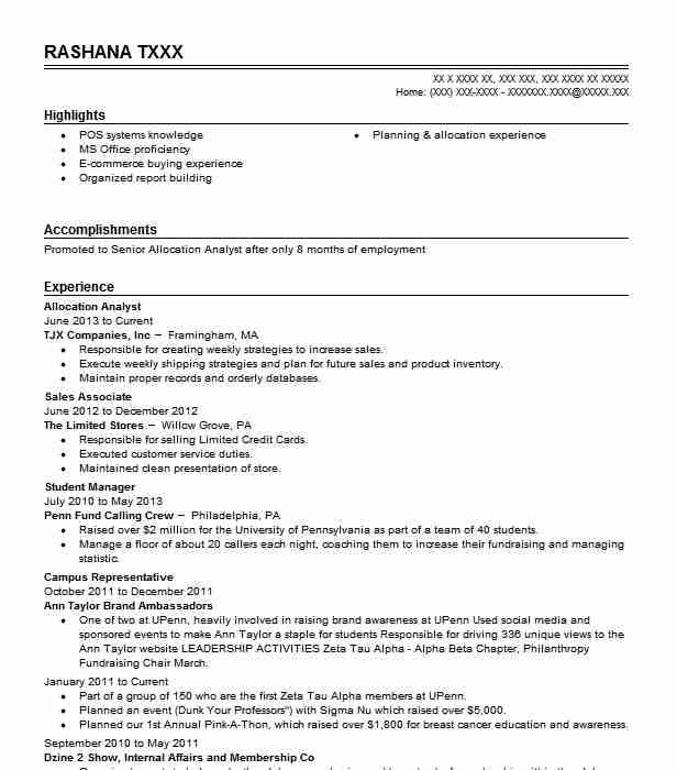 Allocation Analyst Resume Sample Analyst Resumes LiveCareer