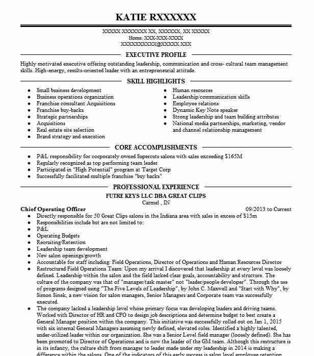 Chief Operating Officer Resume Sample Officer Resumes LiveCareer