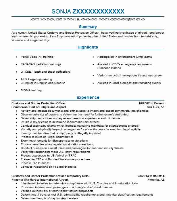 Customs And Border Protection Officer Sample Resume anyprint