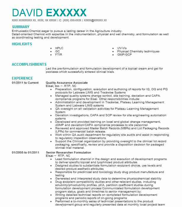 Quality Assurance Associate Resume Sample LiveCareer
