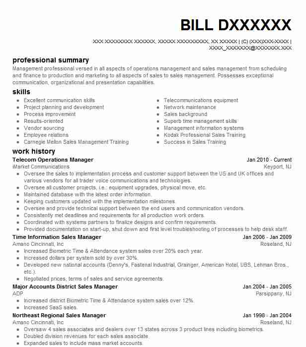Telecom Operations Manager Resume Sample LiveCareer