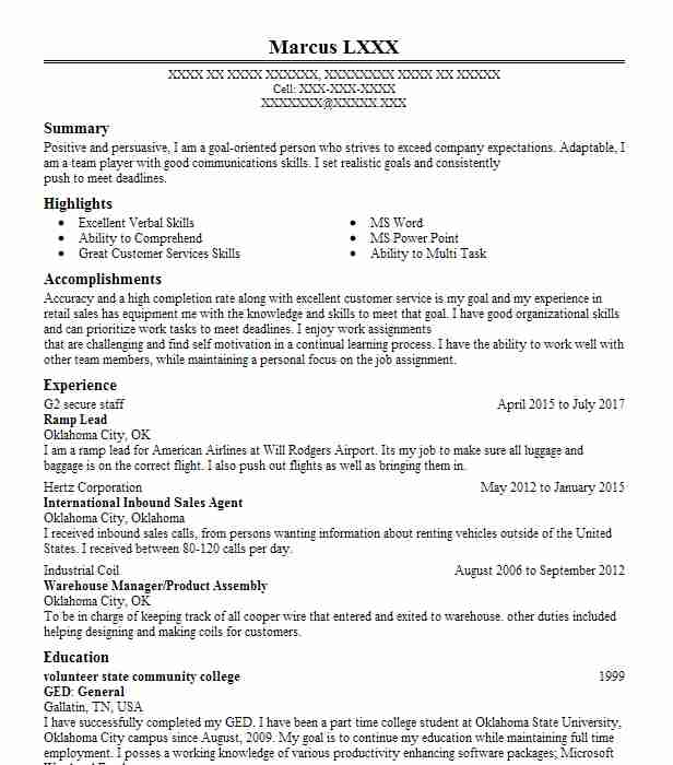2823 Call Center (Customer Service) Resume Examples in Oklahoma