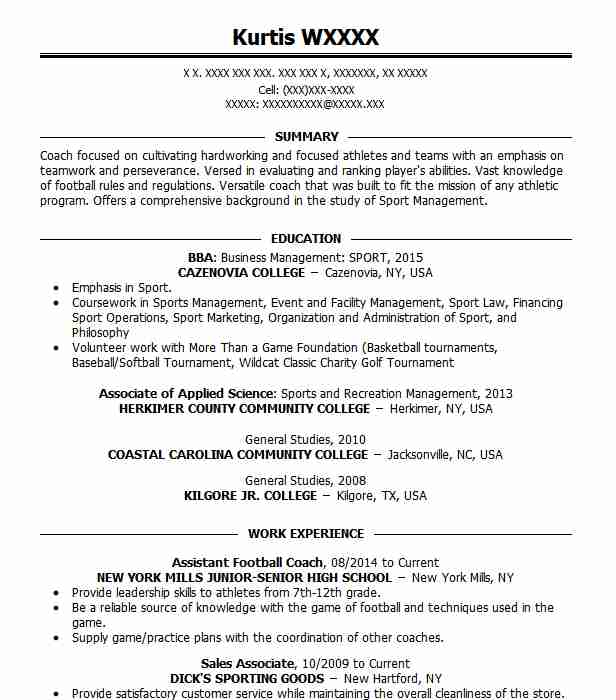 Assistant Football Coach Resume Sample Coach Resumes LiveCareer