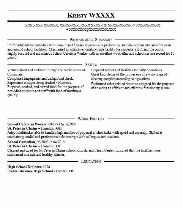 sample resume for school cafeteria manager
