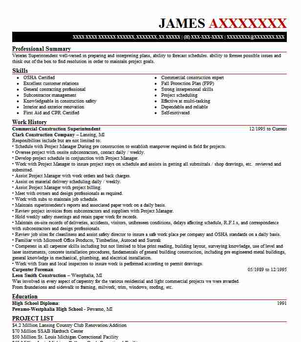 Commercial Construction Superintendent Resume Sample LiveCareer - superintendent resume samples