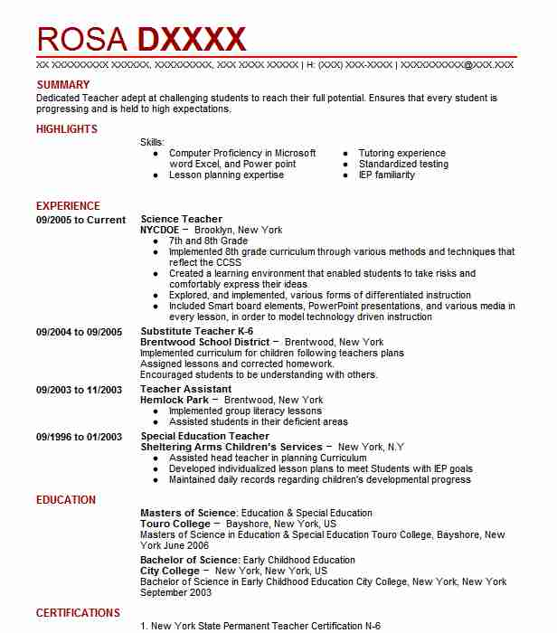 Science Teacher Resume Sample Teacher Resumes LiveCareer