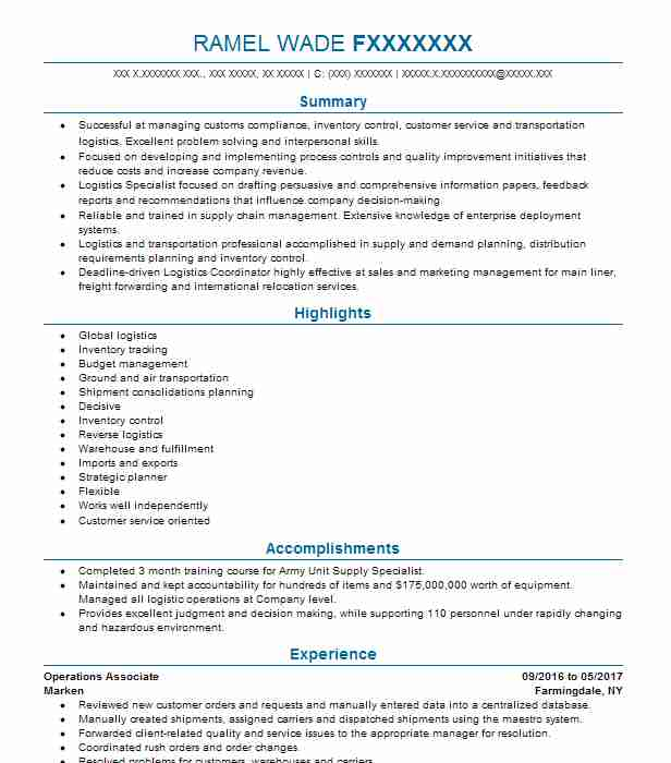 Operations Associate Objectives Resume Objective LiveCareer - inventory management associates resume
