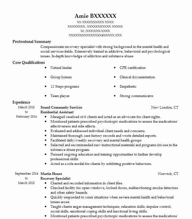 Residential Care Worker Resume Sample Worker Resumes LiveCareer - mental health specialist sample resume